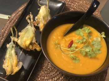Asian Vegetarian Stuffed Squash Blossoms with Squash Soup