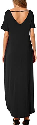 GRECERELLE Women's Casual Loose Pocket Long Dress Short Sleeve Split Maxi Dresses 1