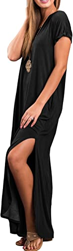 GRECERELLE Women's Casual Loose Pocket Long Dress Short Sleeve Split Maxi Dresses 2