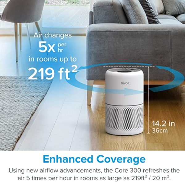LEVOIT Air Purifier for Home Allergies Pets Hair Smokers in Bedroom, H13 True HEPA Air Purifiers Filter, 24db Quiet Air Cleaner, Remove 99.97% Smoke Dust Mold Pollen for Large Room, Core 300, White 2