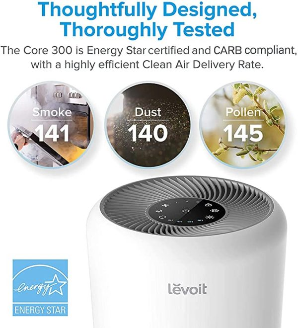 LEVOIT Air Purifier for Home Allergies Pets Hair Smokers in Bedroom, H13 True HEPA Air Purifiers Filter, 24db Quiet Air Cleaner, Remove 99.97% Smoke Dust Mold Pollen for Large Room, Core 300, White 3