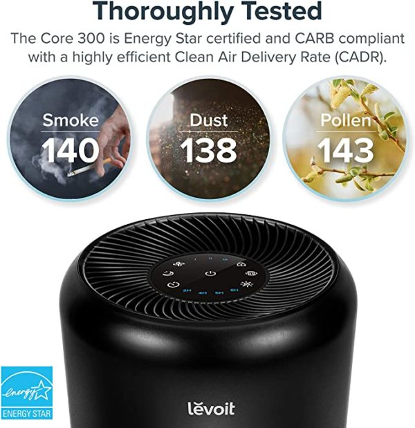 LEVOIT Air Purifier for Home Allergies Pets Hair Smokers in Bedroom, H13 True HEPA Air Purifiers Filter, 24db Quiet Air Cleaner, Remove 99.97% Smoke Dust Mold Pollen for Large Room, Core 300, White 8