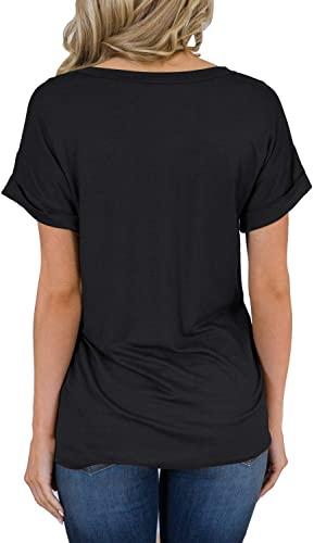 MIHOLL Women's Short Sleeve V-Neck Shirts Loose Casual Tee T-Shirt 2