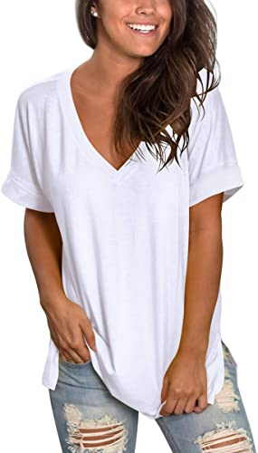 SAMPEEL Women's V Neck T Shirt Rolled Sleeve Side Split Tunic Tops 4