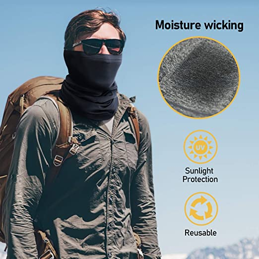 TICONN Neck Gaiter (2 Pack), Face Cover Scarf, Summer Cool Breathable Lightweight, Ideal for Fishing Hiking Running Cycling 3