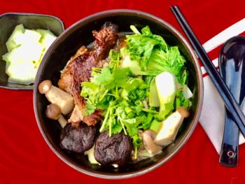 Braised Duck with Mushrooms Noodles Soup - Mi Vit Tiem 2